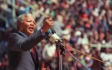 Former South African President Nelson Mandela in September 1990. Picture: AFP/Alexander Joe