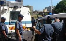 SAPS officers on duty. Picture: Danya Philander/Eyewitness News