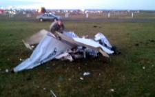 A screengrab from a CNN video where two planes, carrying nine skydivers from Wisconsin, collided mid-air. Picture: CNN
