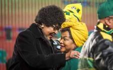 FILE: ANC stalwart Winnie Madikizela-Mandela (left) greets National Assembly Speaker Baleka Mbete at the ANC national policy conference at Nasrec on 30 June 2017. Picture: Thomas Holder/EWN