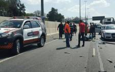 Two motorcyclists were injured in the pile-up.  Picture: EMER_G_MED.