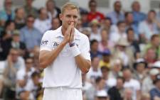 England's Stuart Broad gestures during the first day of the second international Test cricket match between England and South Africa at Headingley Carnegie in Leeds on 2 August, 2012.Picture: AFP.