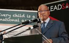 President Jacob Zuma addresses schoolchildren at Glendale Secondary in Mitchell's Plain during the launch of the Stop Rape campaign on 28 February 2013. Picture: EWN