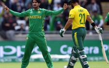 Pakistan's Hasan Ali celebrates taking the wicket of South Africa's JP Duminy during their ICC Champions Trophy match at Edgbaston in Birmingham on June 7, 2017. Picture: AFP