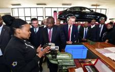 President Cyril Ramaphosa visiting Mercedes Benz in East London. The German automaker invested R10 billion in the expansion of its plant. Picture: @SAgovnews/Twitter.