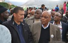 President Jacob Zuma visited Hangberg, Hout Bay, where he was addressing and listening to crowds, accompanied by Western Cape ANC leader, Marius Fransman. Picture: Nicky Carter.