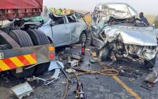 Two people were killed when three vehicles and a truck collided on R57 between Warden crossing and Kestel. Picture: Netcare 911.