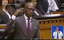 Youtube screengrab of Finance Minister Malusi Gigaba quoting US rapper Kendrick Lamar.