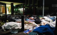 Zimbabwean refugees sleep outside the Central Methodist Church in Johannesburg on 12 March, 2009. Picture: Taurai Maduna/Eyewitness News