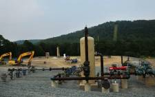 Equipment used for the extraction of natural gas is viewed at a hydraulic fracturing site on June 19, 2012 in South Montrose, Pennsylvania. Picture: AFP.