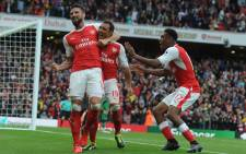 """Arsenal players celebrate after beating Southampton 2-1 on 10 September 2016. Picture: @Arsenal."""""""