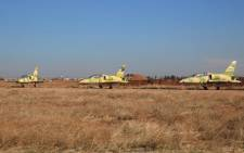 FILE: Syrian air forces jets at the Kweyris military air base, in the northern Syrian province of Aleppo, on 11 November 2015. Picture: AFP.