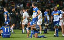Disappointed Stormers players stand around after the final whistle. The Chiefs beat the Stormers 17-11 in their quarter-final clash at Newlands. Picture: Bertram Malgas