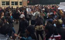 Students protest outside the UCT medical buildings. Picture: Graig-Lee Smith/EWN