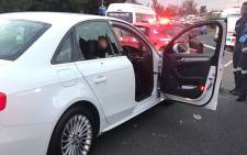 The white Audi A4 following a shooting on the M1 near Glenhove on 18 April 2018. Picture: EWN