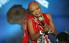A file photo taken 08 September 2003 shows South African pop star Brenda Fassie performing in Johannesburg. Picture: AFP.