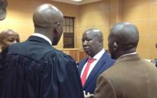 FILE: Julius Malema and his legal team in the Polokwane Magistrates Court on Friday, 21 June. Picture: Barry Bateman/EWN.
