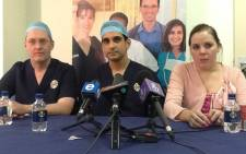 Dr Alan Barrett, Dr Ridwan Mia & Pippie Kruger's mother, Anice. Picture: Andrea van Wyk/EWN.