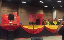 Cosatu President Sdumo Dlamini now addresses delegates at the Young Communist League's 3rd national council in Soweto. Picture: Clement Manyathela/EWN.
