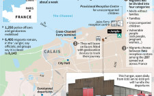 Map of Calais locating migrant camps and the 'Jungle' shanty town with details of the operation to close it down and relocated thousands of migrants.