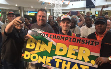 Moto3 world motorcycling champion Brad Binder arrives home in South Africa. Picture: Kgothatso Mogale/EWN