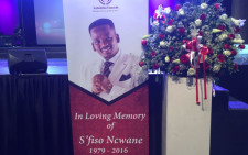 A picture of late award-winning gospel singer Sfiso Ncwane during his memorial service at the Grace Bible Church in Soweto. Picture: Victor Magwedze/EWN.