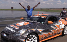 Jacob Moshokoa delighted after experiencing some drifting. Picture: Kgothatso Mogale/EWN