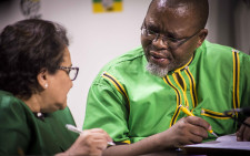 ANC Deputy Secretary General Jessie Duarte and Secretary General Gwede Mantashe at a party briefing. Picture: Thomas Holder/EWN