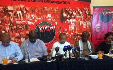 Nehawu members at a press briefing. Picture: Clement Manyathela/EWN.
