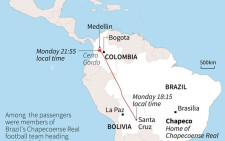 Map showing the flightpath of the Lamia airlines plane that crashed in Colombia late Monday with 81 people on board. Source: AFP.