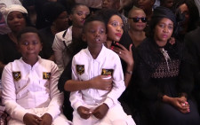 Ayanda Ncwane and her sons at the memorial services for her husband Sfiso Ncwane. Picture: Kgothatso Mogale/EWN