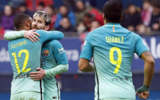 Barcelona players celebrate after securing a 3-0 win at struggling Osasuna on Saturday 10 December 2016. Picture: @FCBarcelona.