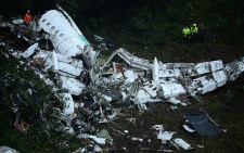 FILE: The wreckage of the LAMIA airlines charter plane carrying members of the Chapecoense Real football team is seen after it crashed in the mountains of Cerro Gordo, municipality of La Union, on November 29, 2016. Picture: AFP.