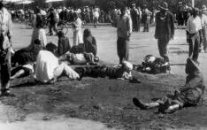 Wounded people lie in the street, 21 March 1960 in Sharpeville, near Vereeniging, where at least 180 black Africans, most of them women and children, were injured and 69 killed. Picture: AFP.