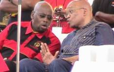 President Jacob Zuma speaks to COSATU president Sdumo Dlamini at the federation's 25the anniversary celebrations. Picture: Tshepo Lesole/Eyewitness News