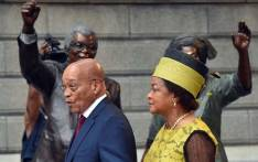 President Jacob Zuma and National Assembly speaker Baleka Mbete outside Parliament ahead of State of the Nation Address in 2015. Picture: GCIS.