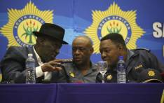 Police Minister Bheki Cele, visited Hermanus to brief police officers ahead of a meeting with protesters in Zwelihle. Picture: Cindy Archillies/EWN