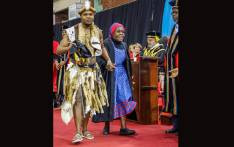 Appreciation at its best: UKZN Bachelor of Laws graduate Njabulo Ntombela takes his great-grandmother to accept the hood on his behalf. Picture: UZKN.