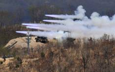 South Korean rockets firing during a media day presentation of a joint live firing drill between South Korea and the US at the Seungjin Fire Training Field in Pocheon, near Seoul. Picture: AFP.