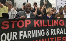 Cope leader Mosiuoa Lekota (C) pictured with demonstrators who marched to the Union Buildings against farm murders. Picture:  Christa Eybers / EWN