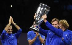 Tomas Berdych of Team Europe holds up the trophy of Laver Cup on 24 September, 2017 in O2 Arena, in Prague. Picture: AFP