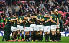 The Springboks huddle together before a match. Picture: AFP