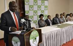 Wafula Chebukati, the Kenya's Independent Electoral and Boundaries Commission chairman, speaks to journalists during a weekly meeting of the commission on 7 February 2017 in the capital Nairobi. Picture: AFP.
