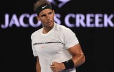 Rafa Nadal celebrates hitting a winner. Picture: @AustralianOpen/Twitter