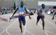 Justin Gatlin celebrates as he wins the Men's 100 Meter Final during Day 2 of the 2017 USA Track & Field Championships at Hornet Stadium on 23 June 2017 in Sacramento, California. Picture: AFP.