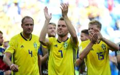 Sweden's midfielder Sebastian Larsson greets the fans following their victory during the Russia 2018 World Cup Group F football match between Sweden and South Korea at the Nizhny Novgorod Stadium in Nizhny Novgorod on 18 June 2018. Picture: AFP.