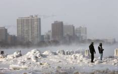 Ice builds up along Lake Michigan at North Avenue Beach as temperatures dipped well below zero on 6 January, 2014 in Chicago, Illinois. Picture: AFP.