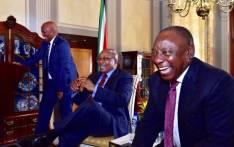 Minister in the Presidency Jeff Radebe, former president Jacob Zuma and President Cyril Ramaphosa laughing during a Cabinet farewell cocktail in honour of Zuma. Picture: @CyrilRamaphosa/Twitter.