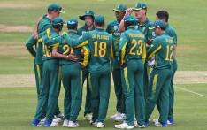 The Proteas celebrate a wicket. Picture: Twitter/@OfficialCSA