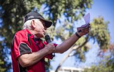 The SACP's Jeremy Cronin addresses members of Cosatu, the ANC and the SACP, who marched through Sandton to the JSE to demand transformation in South Africa's financial system. Picture: Thomas Holder/EWN